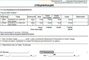 Спецификация на товар (приложение к договору купли-продажи оборудования между организацией и физическим лицом)