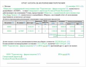 Отчет агента об исполнении агентского поручения (приложение к агентскому договору на распространение коллекций одежды)