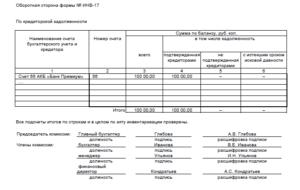 Акт инвентаризации кредиторской задолженности на отчетную дату