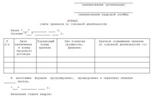 Журнал учета приказов по основной деятельности