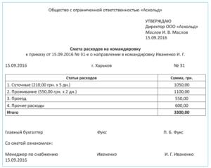 Расчет на командировочные расходы