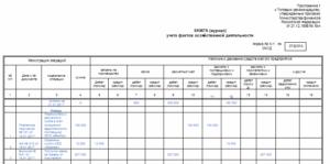 Книга (журнал) учета фактов хозяйственной деятельности. Форма N К-1