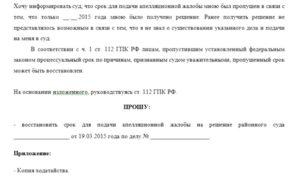 Заявление о восстановлении пропущенного срока на подачу частной жалобы