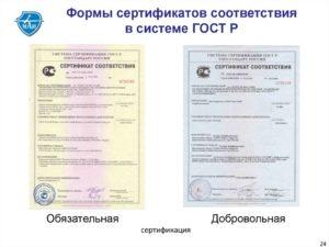 Образец заполнения сертификата соответствия системы качества в Системе сертификации ГОСТ Р