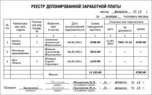 Реестр депонированных сумм