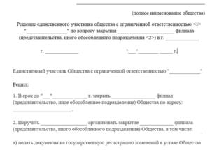 Решение единственного участника (акционера) об открытии представительства (филиала)
