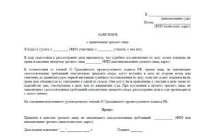 Заявление о вступлении в дело в качестве третьего лица (организации, индивидуального предпринимателя) с самостоятельными требованиями