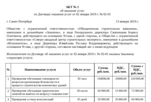Акт оказанных услуг (приложение к договору на оказание услуг по поиску объектов недвижимости для аренды или покупки)