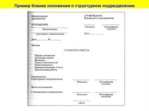 Образец оформления положения о Главном управлении структурного подразделения МВД России