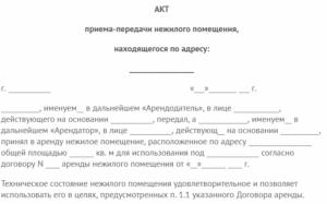 Акт приема-передачи транспортного средства, передаваемого арендодателем арендатору (приложение к договору аренды транспортного средства с экипажем)