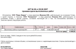 Акт приема-передачи товара (приложение к договору купли-продажи строительных материалов)