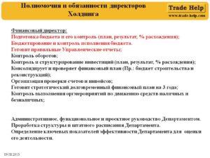 Должностная инструкция финансового директора (заместителя генерального директора по финансам)