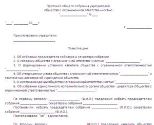 Протокол общего собрания учредителей негосударственного пенсионного фонда о создании фонда