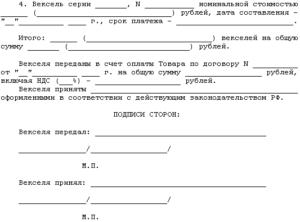 Акт приемки-передачи векселей в счет оплаты товара (приложение к договору купли-продажи оборудования)