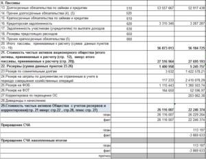 Расчет оценки стоимости чистых активов акционерного общества