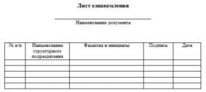 Образец листа ознакомления с распоряжением