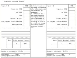 Поясной билет, применяемый при оформлении поездки пассажирам в автобусах междугородного сообщения. Форма N Ф-1 (образец)