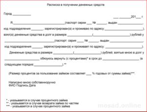Расписка заемщика в получении вещевого займа