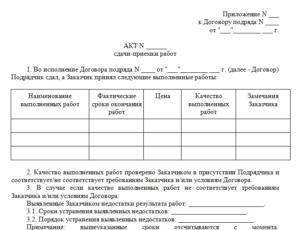 Акт приемки работ текущего ремонта по войсковой части