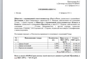 Спецификация на реализацию товара (приложение к договору комиссии)
