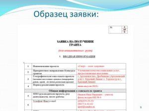 Заявка на получение Московского областного гранта