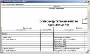 Форма сопроводительного листа пачки налоговых документов