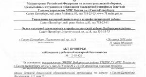 Акт проверки соблюдения требований пожарной безопасности (образец)