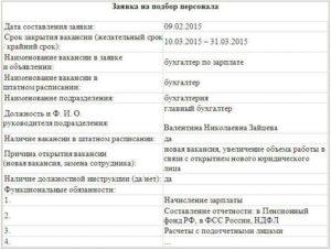 Заявка на подбор персонала (приложение к договору по оказанию услуг по подбору персонала)