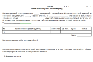 Акт сдачи-приемки услуг (приложение к договору об оказании услуг по предоставлению рабочей силы)