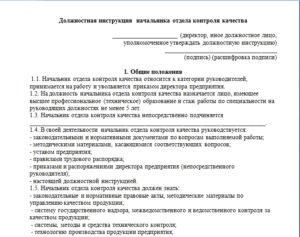 Должностная инструкция начальника испытательной группы
