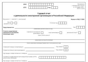Годовой отчет о деятельности иностранной организации в Российской Федерации