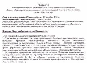 Протокол внеочередного общего собрания членов некоммерческой организации об утверждении изменений