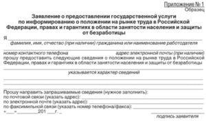 Заявление-анкета о предоставлении государственной услуги по информированию о положении на рынке труда в Российской Федерации, правах и гарантиях в области занятости населения и защиты от безработицы (образец)