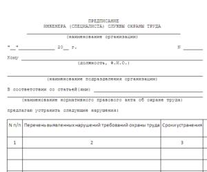 Предписание инженера (специалиста) службы охраны труда