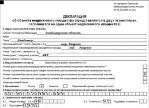 Декларация об объекте недвижимого имущества (представляется в двух экземплярах, заполняется на один объект недвижимого имущества)