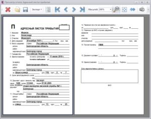 Адресный листок прибытия граждан при регистрации в Федеральной миграционной службе. Форма N 2
