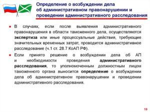 Определение о возбуждении дела об административном правонарушении и проведении административного расследования