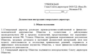 Должностная инструкция Генерального директора общества с ограниченной ответственностью - частного охранного Предприятия