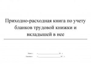 Форма приходно-расходной книги по учету бланков трудовой книжки и вкладыша в нее
