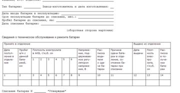 Форма карточки учета эксплуатации аккумуляторной батареи автотранспортных средств и автопогрузчиков (рекомендуемая)