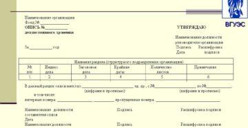 Образец оформления внутренней описи документов дела постоянного хранения в Министерстве сельского хозяйства Российской Федерации