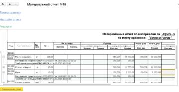 Материальный отчет. Форма N М-19п