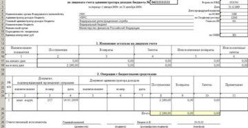 Выписка из лицевого счета бюджета финансового органа Российской Федерации