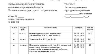 Внутренняя опись документов в делах постоянного срока хранения