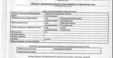 Технический паспорт объекта индивидуального жилищного строительства