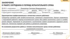 Заключение о соответствии замещаемой должности по результатам испытательного срока