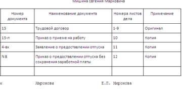 Опись документов в личном деле работника