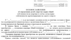 Исковое заявление о выделе в натуре доли бывшего супруга в праве общей собственности на жилой дом (жилое помещение, квартиру)