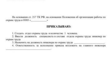 Примерные формулировки записей в приказе о создании службы охраны труда (введении должности специалиста по охране труда)