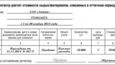 Регистр-расчет формирование стоимости объекта учета